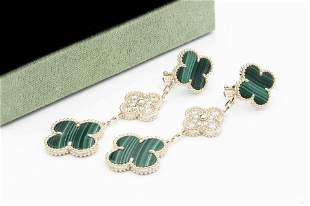 Van Cleef & Arpels 18k Gold Malachite Diamond Alhambra