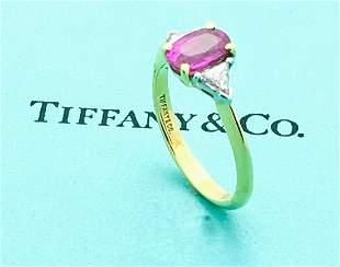 Tiffany & Co 18k Gold Platinum Pink Sapphire Diamond
