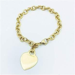Tiffany & Co 18K Yellow Gold Heart Tag Charm Bracelet