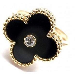 VAN CLEEF & ARPELS ALHAMBRA 18K DIAMOND ONYX RING