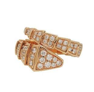 BULGARI B. SERPENTI 18KT ROSE GOLD DIAMOND RING