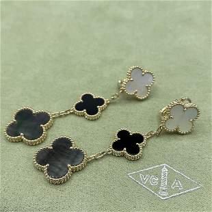 Van Cleef & Arpels Onyx Pearl 3 Motif Earrings
