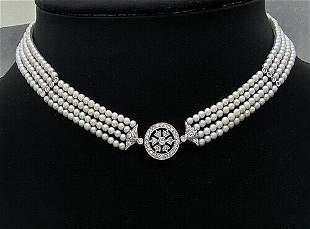 18K White Gold Pearl Diamond Four Strand Beaded