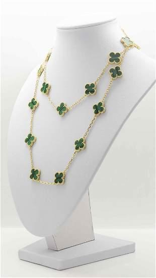 Van Cleef & Arpels Malachite 20 motif 18K Gold Necklace