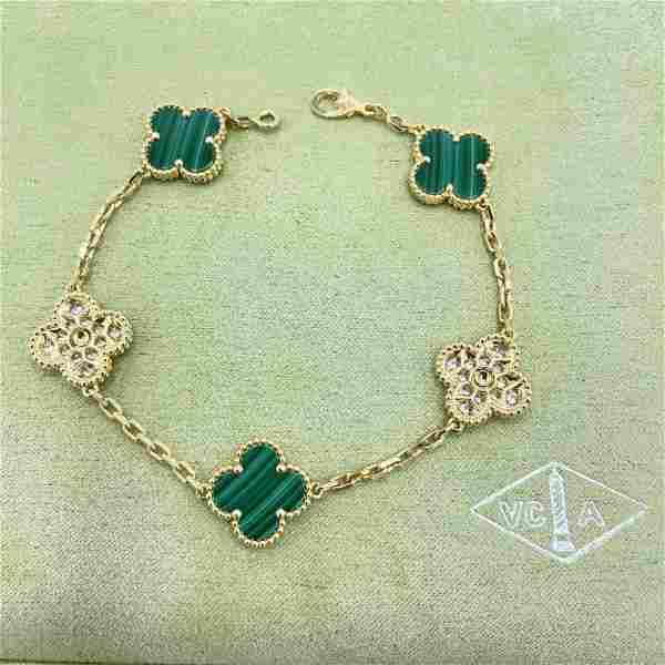 Van Cleef & Arpels Alhambra Malachite Diamond Bracelet