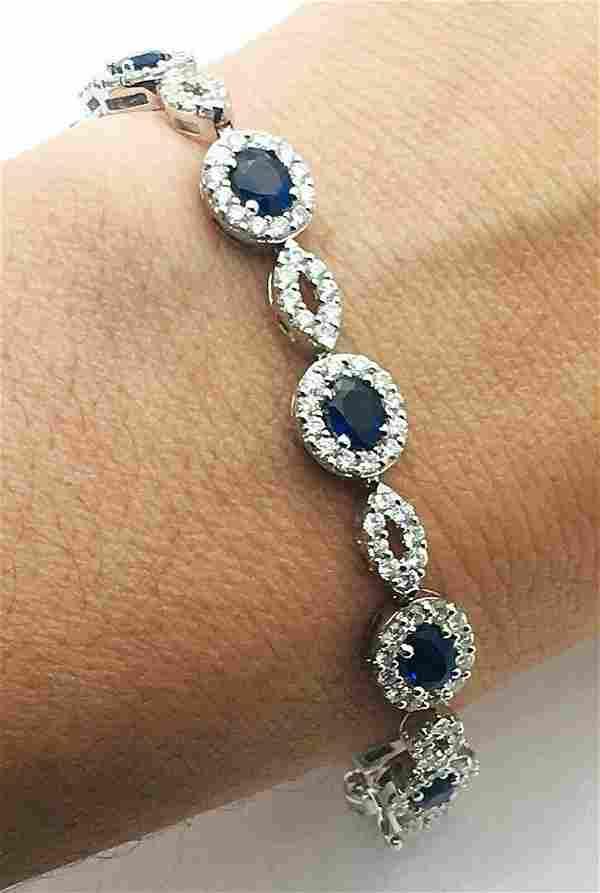 """18k Gold 5TCW Diamond 4TCW Sapphires 7"""" Bracelet"""