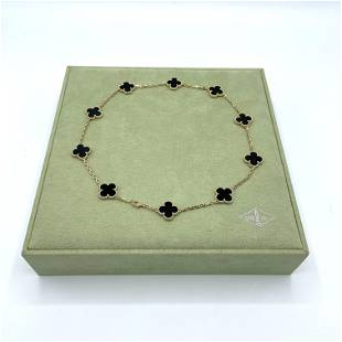 Van Cleef & Arpels Alhambra 10 Motif Onyx Necklace