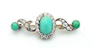 Antique 18k Gold Diamond Turquoise Pin Brooch