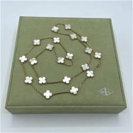 Van Cleef & Arpels Alhambra 18K Pearl 20 motif Necklace