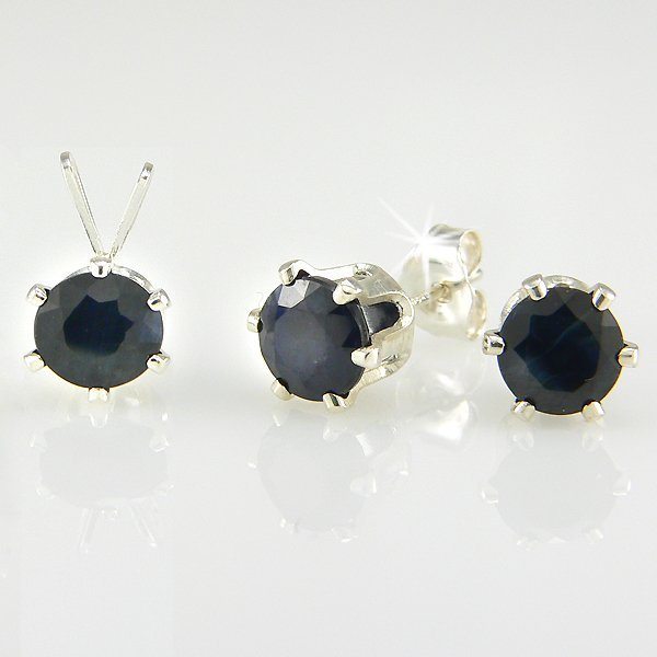 1017: SS ROUND SAPPHIRE PENDANT & EARRING SET 6MM