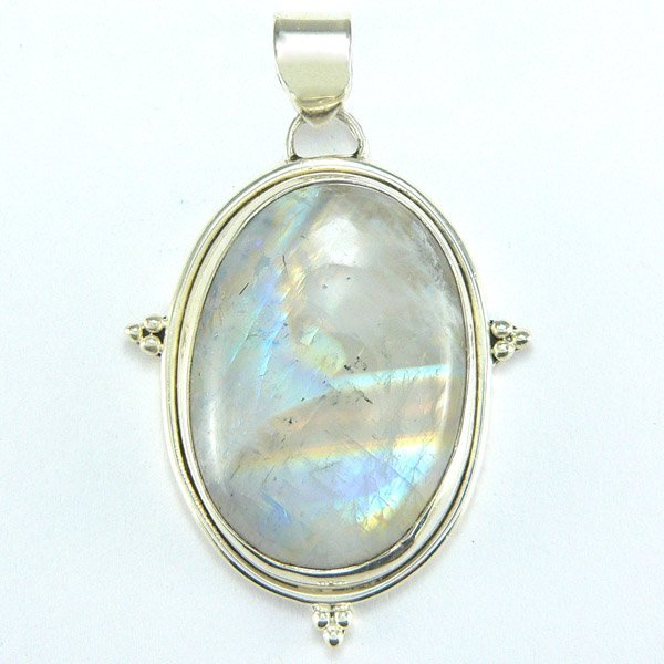 3015: SS MOONSTONE PENDANT 45X30MM