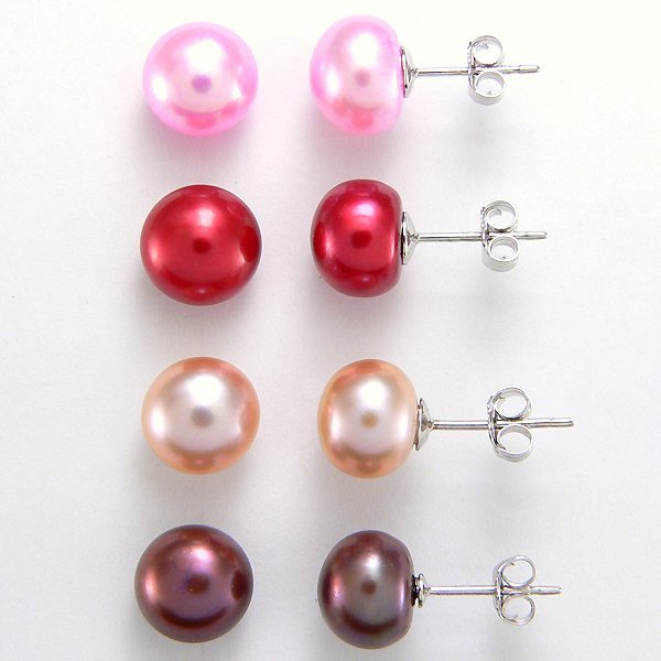 3026: 4 PAIRS SS 8.5-9.5 MULTI-COLORED FWP EARRINGS