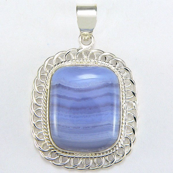4028: SS BLUE LACE AGATE STONE PENDANT 45X30MM