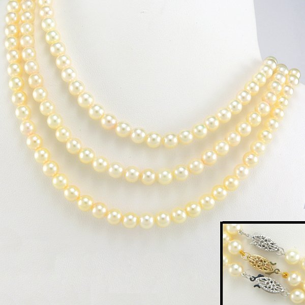 """1002: 3 10KWWY 5-5.5MM AKOYA PEARL NECKLACES 17"""""""