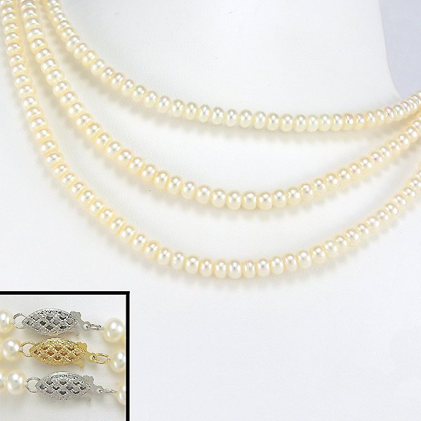 """1033: 3 10KWWY 4.5-5MM FRESHWATER PEARL NECKLACE 16"""""""
