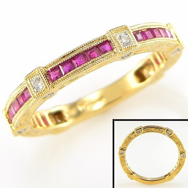 2024: 14KY RUBY & DIAMOND RING 0.14CT SZ 10