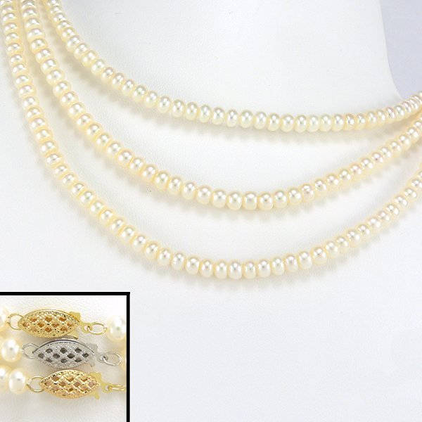 """3022: 3 10KYYW 4.5-5MM FRESHWATER PEARL NECKLACE 16"""""""