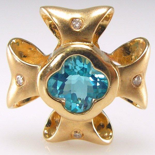 11041: 14KT BLUE TOPAZ DIAMOND RIBBON PENDANT  0.99CTS