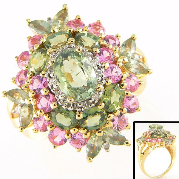 3014: CERTIFIED 14KT MULTI-SAPH RING SZ 7 4.00CTS