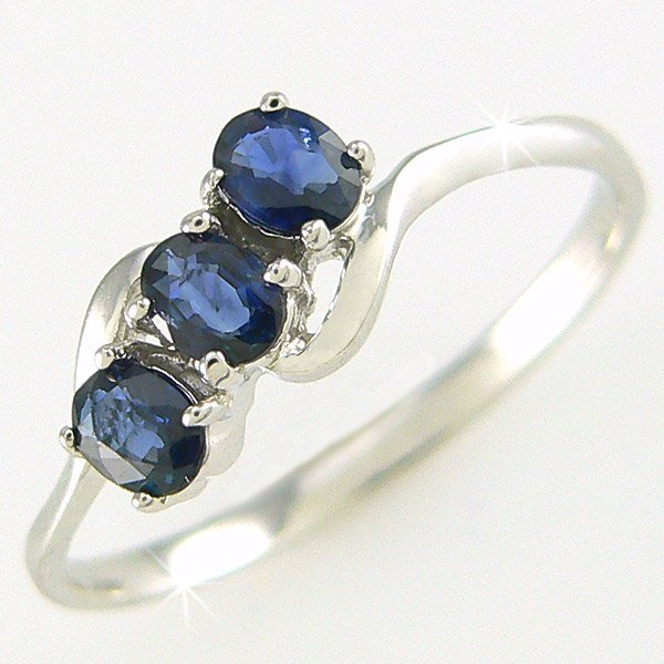 3019: CERTIFIED 14KT SAPPHIRE RING 0.60CT SZ 6.75