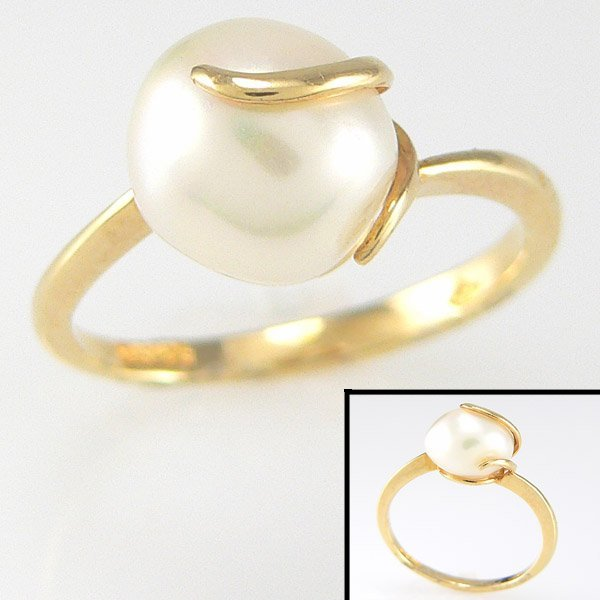 3264: CERTIFIED 14KT FW PEARL BEAD RING SZ 5.5
