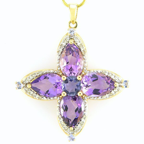 3306: CERTIFIED 14KT DIA AMETHYST IOLITE PEND 3.08TCW