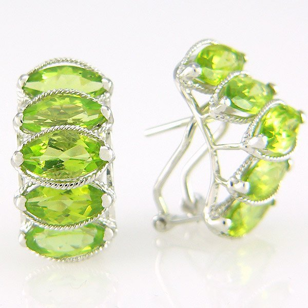 5022: 14KT PERIDOT EARRINGS 3.20TCW