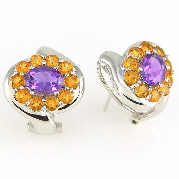 5036: 14KT CITRINE AMETHYST EARRINGS 3.58TCW