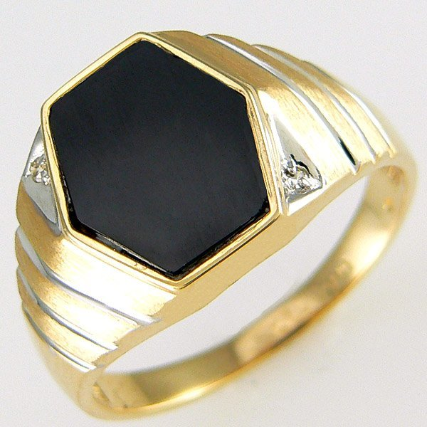 4005: 14KT MEN'S DIA ONYX RING SZ 10 1.29TCW