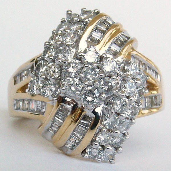 4009: 14KT DIAMOND RING SZ 6.5 1.50TCW