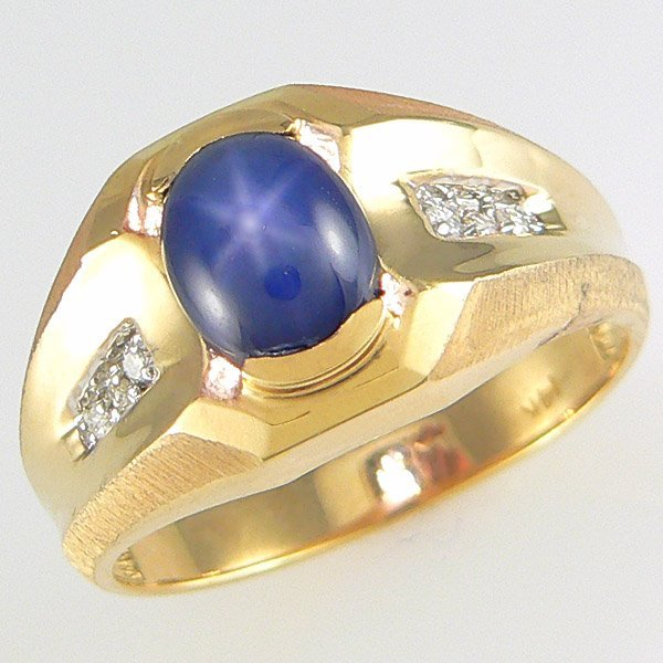 4016: 14KT MEN'S DIA STAR SAPH RING SZ 10.5 1.15TCW