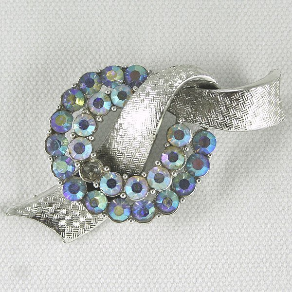"13014: Vintage ""Coro"" Multi Stone Brooch 65x35mm"