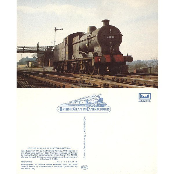 13022: ENGINE 43893 AT CLIFTON JUNCTION POSTCARD