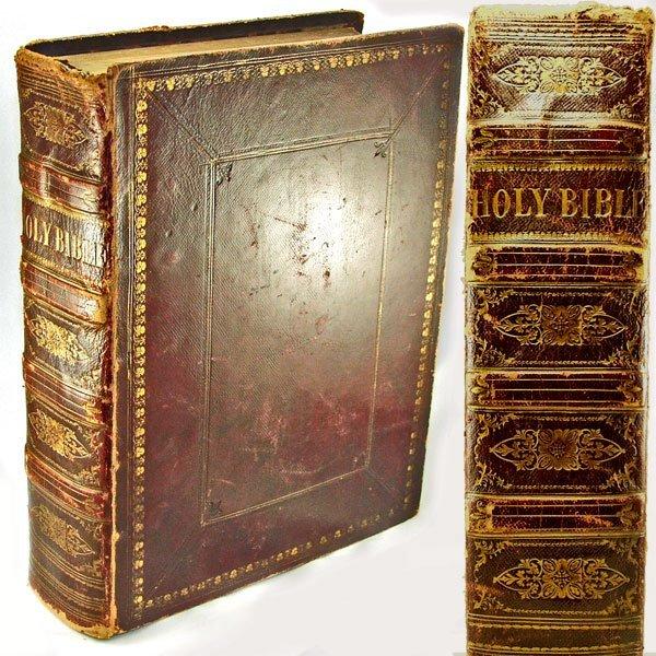 13300: 1872 Leather Bound Family Holy Bible