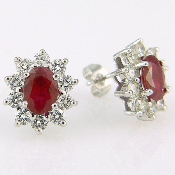 1076: 14KT RUBY DIAMOND EARRINGS 2.90CTS