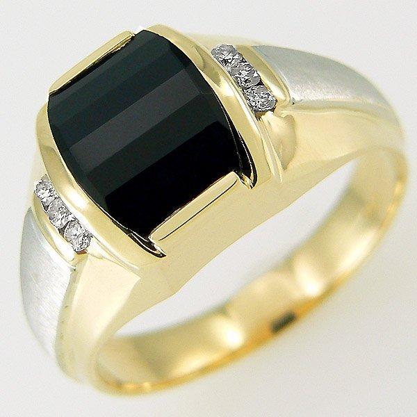 31307: 14KT MENS DIAMOND ONYX RING 1.84 TCW