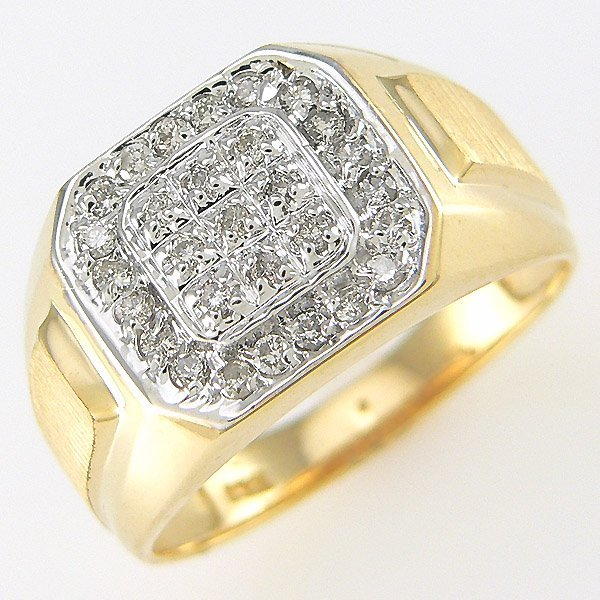 412141621: 14KT MENS DIAMOND RING SZ 10 0.40TCW