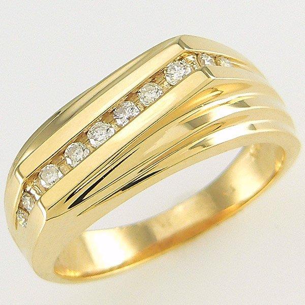 412142477: 14KT MENS DIAMOND RING SZ 10 0.26TCW