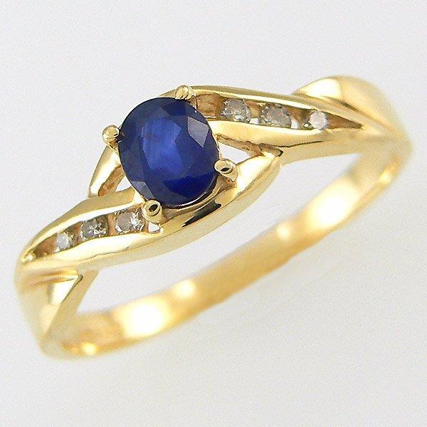 1401100022: 14KT SAPPHIRE DIAMOND RING 0.40TCW SZ 7