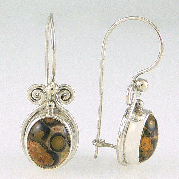 502131037: LEOPARD SKIN JASPER EARRINGS
