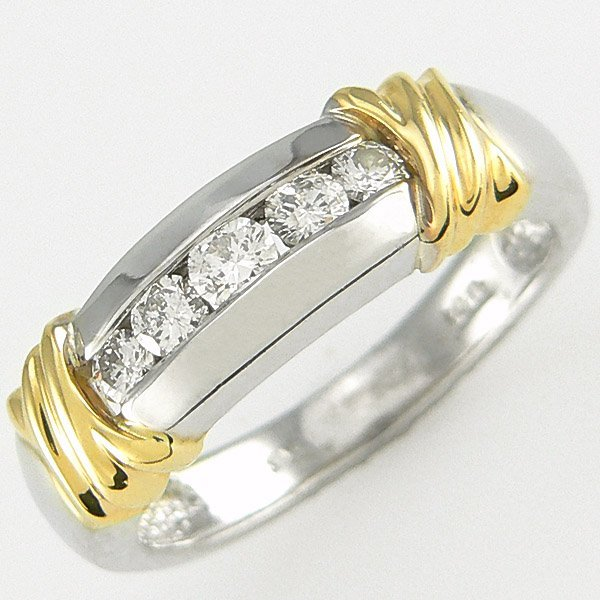 212141147: 14KT TT MENS DIAMOND RING SZ 9 0.50CW