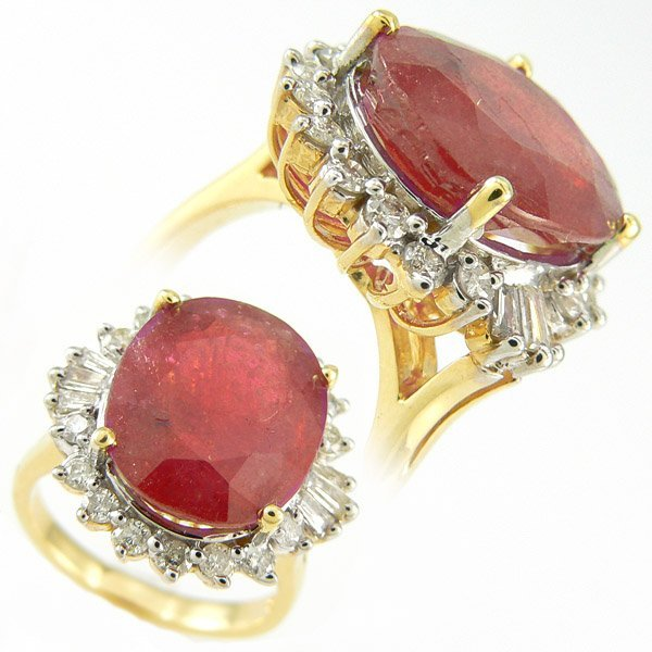 209111328: RUBY & DIAMOND RING 7.04 CTW SET IN 14KT.