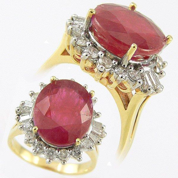 411111357: RUBY & DIAMOND RING 13.12 CTW SET IN 14KT.