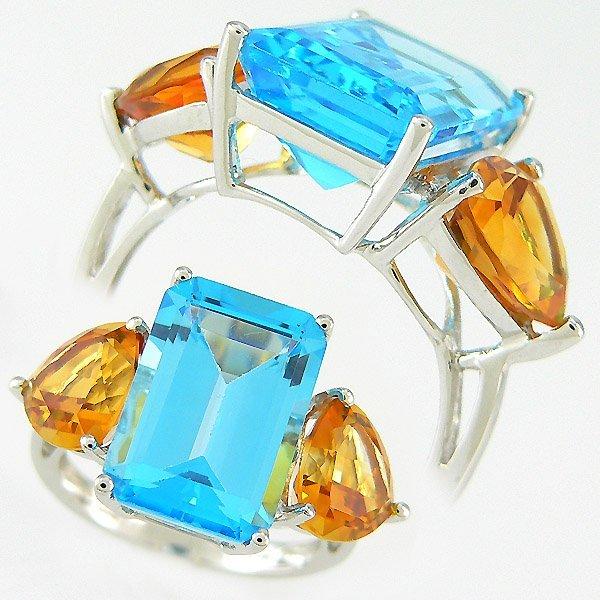 501100080: CITRINE & BLUE TOPAZ RING 10.40TCW 14KT SZ 7