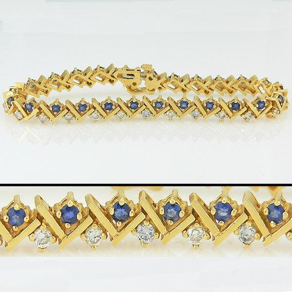 103100283: 14KT SAPPHIRE DIAMOND BRACELET 4.81TCW 7IN