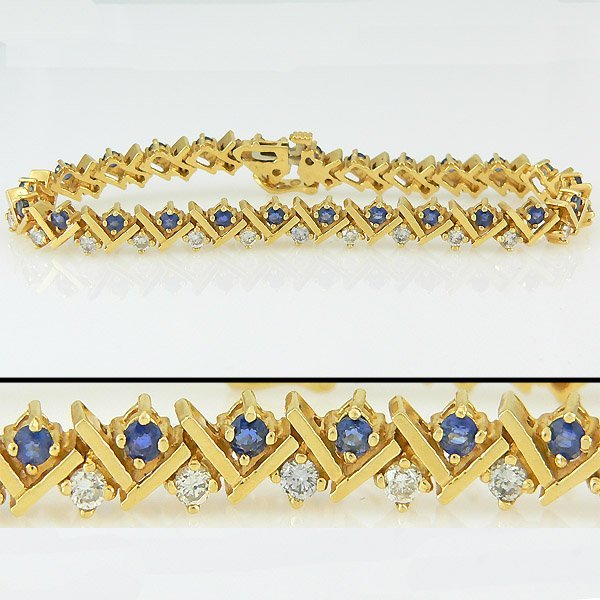 403100283: 14KT SAPPHIRE DIAMOND BRACELET 4.81TCW 7IN