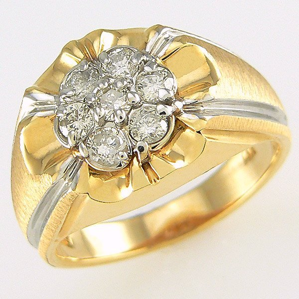 412142219: 14KT MENS DIAMOND RING SZ 10 0.80CW