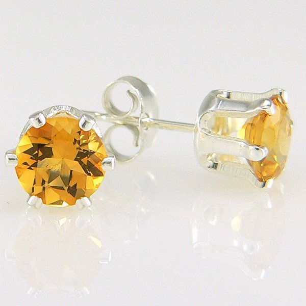 201131999: SS CITRINE STUD EARRINGS 6MM