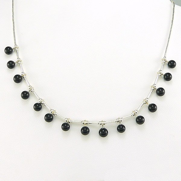 "201132073: SS 16"" BLACK ONYX BEADED LIQUID SILVER NCKL"