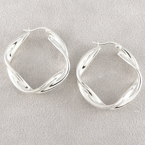 501132085: SS TWISTED HOOP EARRINGS